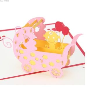 3D Baby In A Pink Carriage Pop-Up Greeting Card 🌸